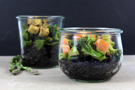 Black Rice, green Veggies