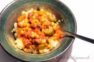 Hirse mit Chilibohnen